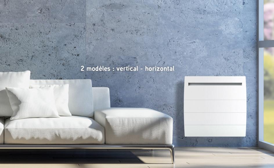 Radiateur Airelec Novéo 2 DP Horizontal - Blanc d'une puissance de 750 W