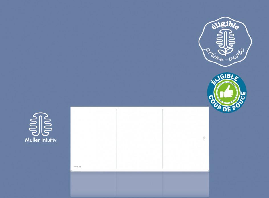 Radiateur Airelec Ozéo Bas - Blanc d'une puissance de 1000 W